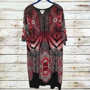 Red and Black Printed 3/4 Sleeve Dress Plus Size 0